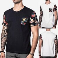 Men's Slim Fit V Neck Short Sleeve Muscle Tee T-shirt Casual Tops Floral Blouse