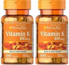 2X Vitamin K 100 mcg x 100 ( 200 ) Tablets , Bone & Joint Health - 24HR DISPATCH
