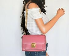 MICHAEL KORS MINDY MEDIUM CHAINED SHOULDER FLAP SMOOTH LEATHER BAG PINK TULIP