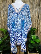 Plus Size Sheer Chiffon Embellished Kaftan Digital Printed Size 16-24 One Size