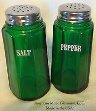 Hunter Green Glass Paneled Salt & Pepper Shaker Set w/ White Lettering