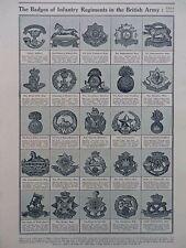 1915 CAP BADGES OF BRITISH INFANTRY REGIMENTS  WW1 WWI