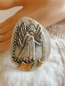 Original P. Heck Porcelain Fairy Angel Hand-made Brooch