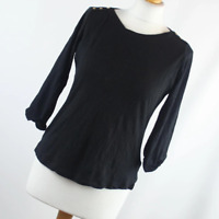 New Look Womens Size 10 Black Plain Cotton Basic Tee