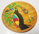 Round Wood Carved VENEZUELA Wall Plaque Art Toucan Bird Music Guitar Travel Gift