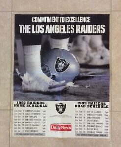 Los Angeles Raiders 1983 Season Schedule Poster Daily News 17x22 VTG NFL