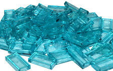 LEGO TILE 1x2 x50 pieces # TRANS LIGHT BLUE # minecraft water smooth flat