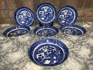 "7 Vintage Blue Doultons Willow  7.5 "" China Bowls"