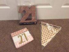 21st birthday decorations Gold And Pink Table Decoration, Napkins, Banner