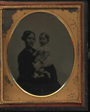 Mother holding toddler sixth-plate ambrotype union case