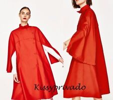 ZARA Coral Cotton Blend Oversized Cape Trench Coat M - L 12 14 BNWT 2886 753