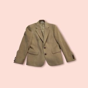 Womens Suit Jacket Blazer Khaki Tan 100% Camel Hair Pocket Notch Lapel Vintage 6