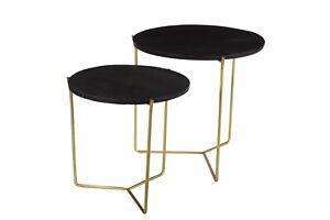 2er Set Mango Wood Coffee Tables Mason Black Gold Round Side Table Sofa Table