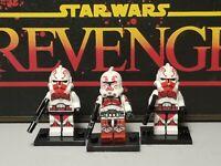 Captain Keeli squad clone Troopers lot 3 minifigures #2 red Star Wars Skywalker