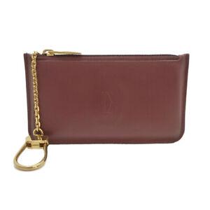 Authentic Cartier Must De Coin Purse Bordeaux Leather #S312105