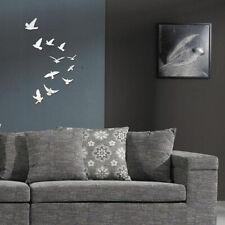 Kids Wall Art Decor Lovely Birds Silver Mirror Art DIY Sticker Bedroom ONE