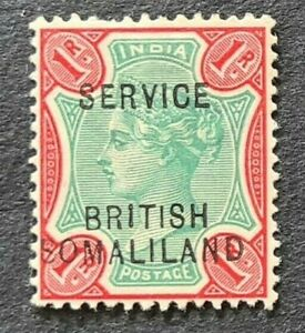 STAMPS BRITISH SOMALILAND 1903 OHMS 1R MINT HINGED - #5747