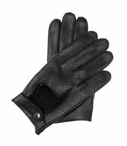 Black perforated touchscreen car driving gloves for men, soft nappa lamb leather