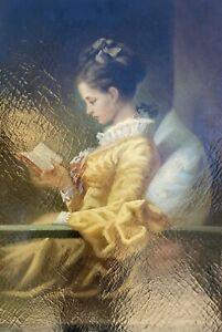 Porträt einer Dame mit Buch im Stil des 19. Jahrhunderts Ölgemälde 90 x 60 cm