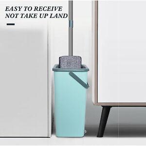 360° Flat Floor Mop And Bucket Set Microfiber Mop Heads Dry Cleaner Cleaning Mop