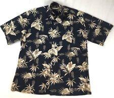 Batik Bay Mens Large Black Hawaiian Camp Shirt Floral Tan Brown Foliage