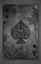 Framed Print - Black and White Vintage Ace of Spades Playing Card (Picture Art)