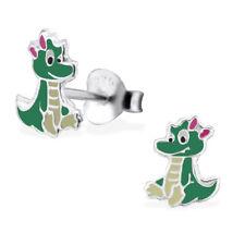 925 Sterling Silver Cute Baby Crocodile Pink Bow Kids Girls Stud Earrings