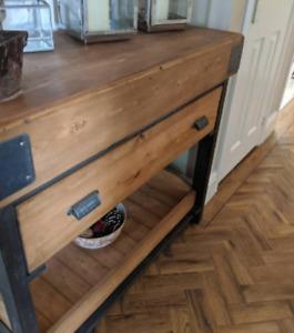 Handmade Butchers Block Style Kitchen  Prep Table Cabinet Storage