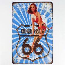 Metal Tin Sign highway 66 sexy girl Decor Bar Pub Home Vintage Retro Poster