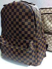 LADIES MEN DESIGNER STYLE RUCKSACK CHECK SCHOOL COLLEGE FASHION BACK PACK BAG
