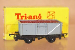 TRIANG T270 TT GAUGE BR GREY MINERAL TRUCK WAGON B44821 & IRON ORE LOAD BOXED