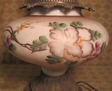VINTAGE HURRICANE LAMP WITH HAND PAINTED FLORAL BASE