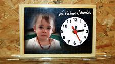 Horloge de bureau style ardoise d'écolier personnalisée 1 photo de votre choix