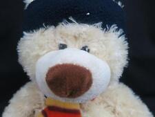 CREAM CHRISTMAS TEDDY BEAR LONG FLOPPY HAT STRIPPED SCARF  PLUSH STUFFED ANIMAL
