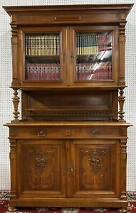 Antique French Solid Walnut Glass Hunt Bookcase Cupboard C 1890