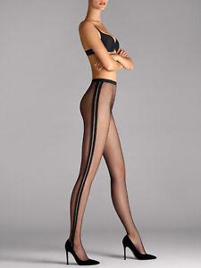 WOLFORD Sonya Tights Size M Black Seamless Circular Knit Side Stripes