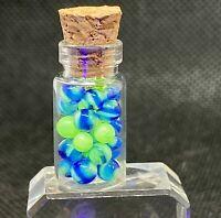 Handmade Blue UV Micro Marbles or uranium glass, vaseline glass w/ black light