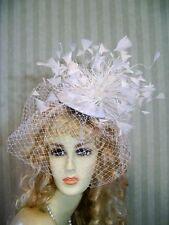Kentucky Derby Fascinator Hat, Wedding, WhiTe Feather, Belmont Hat, Tea, Bride