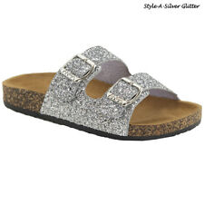 New Women&Kids Glitter Sandals Gladiator Doube Buckle Slide Flip Flops