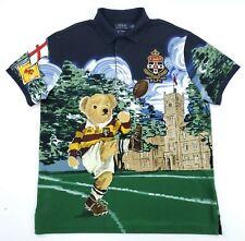 Polo Ralph Lauren Men's L Custom Slim Fit Rugby Kicker Football Bear Shirt NWT