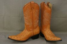 ROGERS BOOTS Size 8.5 Ostrich Chestnut/Peanut Pointy Toe Cowboy Boots
