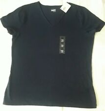 Basic Editions Women's Tee Modern Dark Blue  XXL NWT Short Sleeve Shirt
