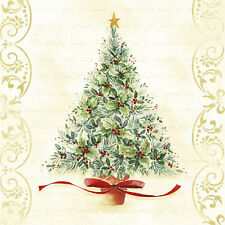 CHRISTMAS Sentimental Tree Paper Luncheon Napkins 40 pcs Green, Red, Gold