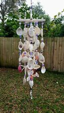 Beautiful Handmade Windchime With florida Shells, Semi-precious Stones And Glass