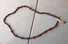 "Red & Dark Black 32"" Long Ethnic Chunky Wood Bead Statement Necklace"