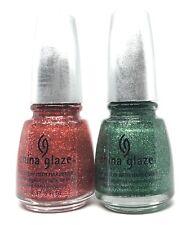 china glaze nail polish Mrs Claus 883 + Mistletoe Kisses 885 Red & Green Glitter