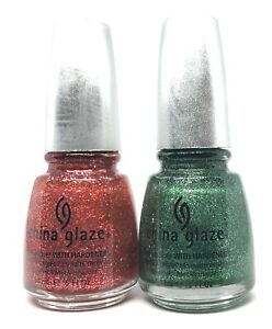 china glaze nail polish Mrs Claus 883 + Mistletoe Kisses 885 Red & Green Glitter