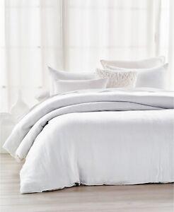 DKNY Pure Indulge White Q Queen Duvet Cover Cotton Matelasse Donna Karan NY New