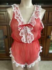 New listing Vintage 70s 80s Red And White Lace Teddy Romper