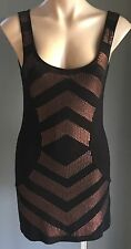 "Awesome  AZUKI ""Cosmic"" Black & Bronze Sequin Sleeveless Stretch Dress Size 10"